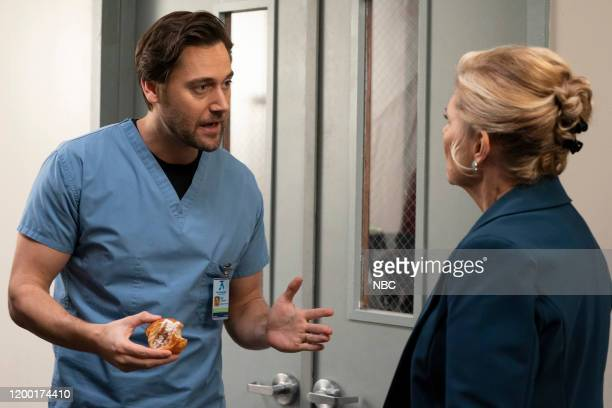 NEW AMSTERDAM In The Graveyard Episode 213 Pictured Ryan Eggold as Dr Max Goodwin Debra Monk as Karen Brantley