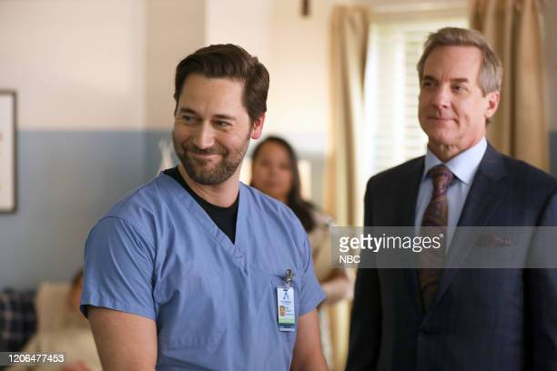 NEW AMSTERDAM In The Graveyard Episode 213 Pictured Ryan Eggold as Dr Max Goodwin Steve Blanchard as Ozzie Cobb