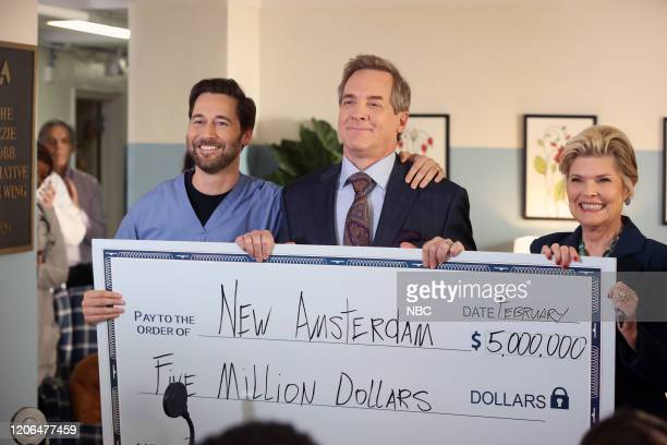 NEW AMSTERDAM In The Graveyard Episode 213 Pictured Ryan Eggold as Dr Max Goodwin Steve Blanchard as Ozzie Cobb Debra Monk as Karen Brantley