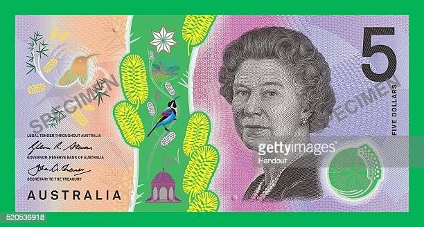 In the handout image provided by the Reserve Bank of Australia the Queen side of the new $5 banknote is on display The Reserve Bank of Australia...