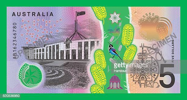 In the handout image provided by the Reserve Bank of Australia the Parliament side of the new $5 banknote is on display The Reserve Bank of Australia...