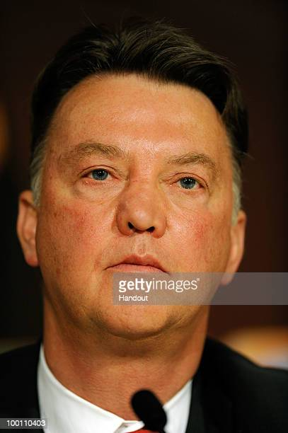 In the handout image provided by UEFA manager Louis van Gaal attends a Bayern Munich Press Conference prior to the UEFA Champions League Final match...