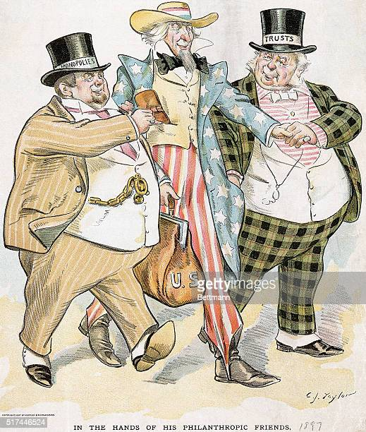 'In The Hands of His Philanthropic Friends' a cartoon showing Uncle Sam having his pockets picked by two hefty men with top hats labled 'Monopolies'...