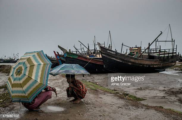 In the harbor at IDP camps begins the dangerous journey at the Andaman sea for many of the boat refugees May 24 2015 in Sittwe Burma Since 2012 the...