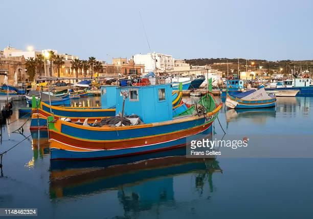 in the harbour of marsaxlokk, malta - marsaxlokk stock pictures, royalty-free photos & images