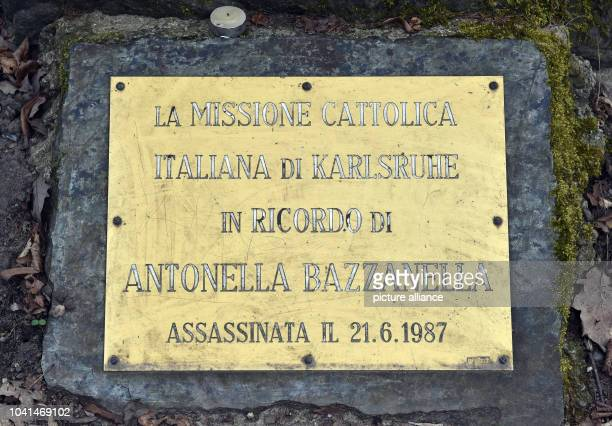 In the Hardtwald of Karlsruhe Germany a memorial stone to Antonella Bazzanella who was murdered there on 21 June 1987 photographed on 26 March 2015...