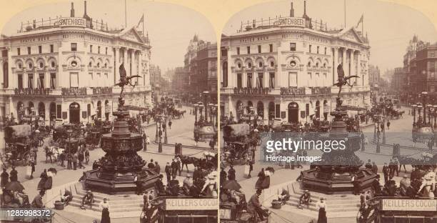 In the Heart of Modern Babylon, Piccadilly Circus, London, England, 1850s-1910s. Artist Strohmeyer & Wyman.