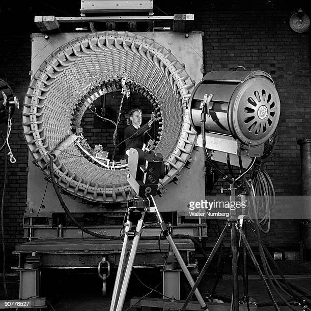 In the high voltage test labs a hIgh speed camera is used to test the rotation speed of a stator The stator is made up of hundreds of angled blades...