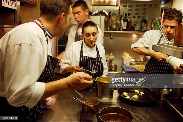 """In the kitchen of the restaurant """"The saltflak"""" Nadine Voluette prepares with her Chief Emmanuel Renaud during the World Best Chefs Competition on..."""