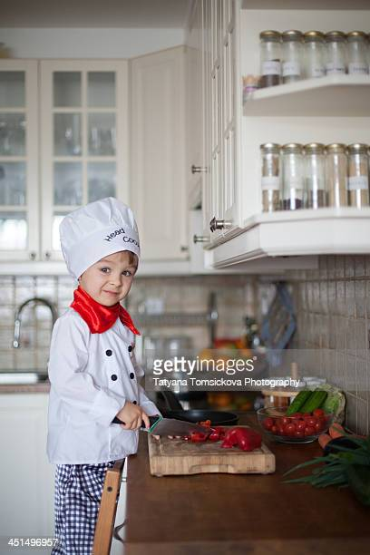 In the kitchen with the head cook