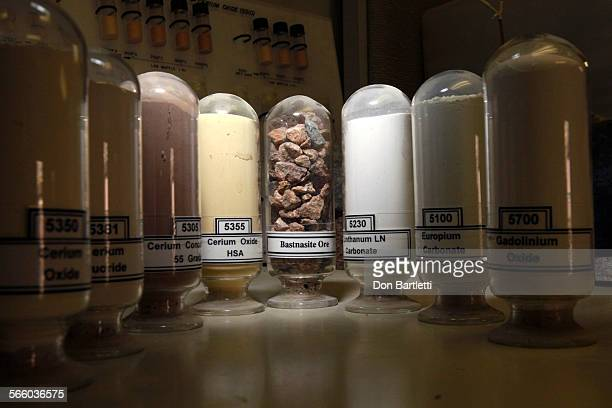 PASS CA In the lab at Molycorp Minerals mine in Mountain Pass CA vials hold the raw oar and test samples of the rare earth metals that the company...