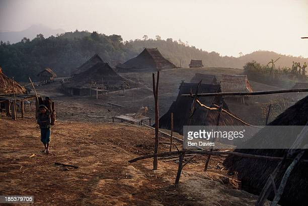 KHAO PHONGSALY PHONGSALI LAOS In the late afternoon an Iko or Akha villager from the remote hilltribes village of Perhisang in Northern Laos carries...