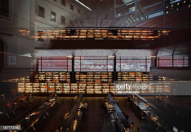 in the library - museo nacional centro de arte reina sofia stock pictures, royalty-free photos & images
