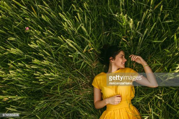 in the meadow - yellow dress stock pictures, royalty-free photos & images