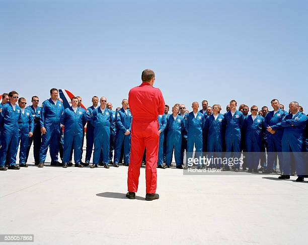 In the midday heat Squadron Leader Spike Jepson leader of the elite 'Red Arrows' Britain's prestigious Royal Air Force aerobatic team informally...