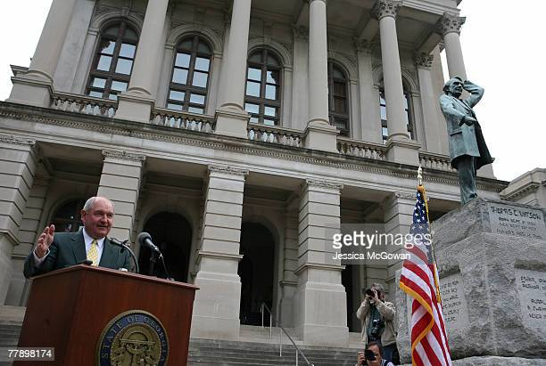 In the midst of a severe drought Georgia Governor Sonny Perdue leads prayer service for rain on the steps of the Georgia State Capitol in Atlanta...