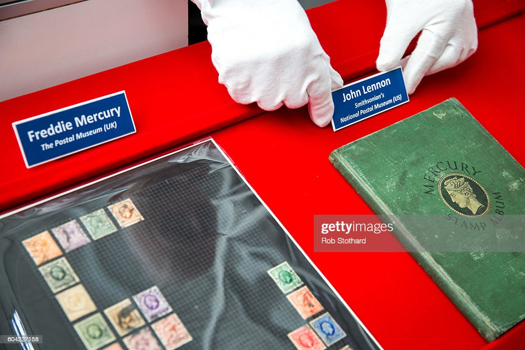 The Postal Museum Puts Freddie Mercury And John Lennon Stamp Albums On Display Together For The First Time : News Photo