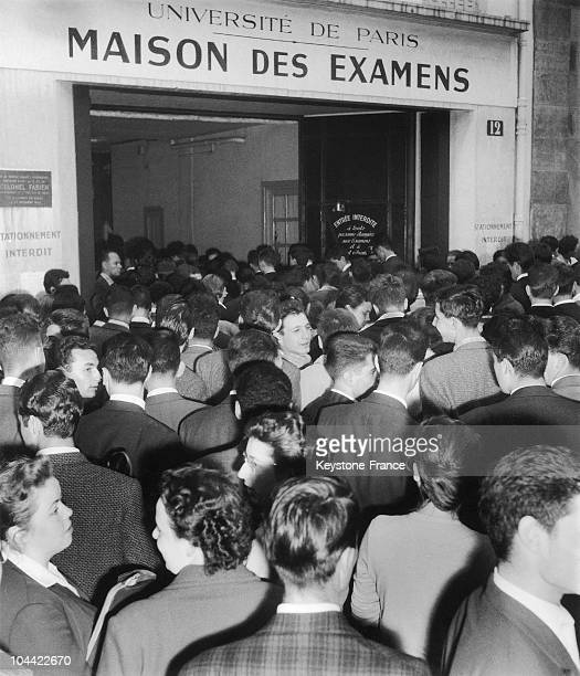 In The Morning Of June 6 Young Boys And Girls Outside The Maison Des Examens In Paris In Rue De L'AbbeeDeL'Epee For Their First Baccalaureat Exam...