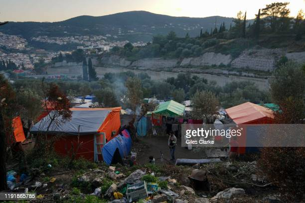 In the 'Mount Syria' refugee camp located on a hillside above Samos Town on Samos Greece some 7000 people are awaiting transfer to the Greek mainland...
