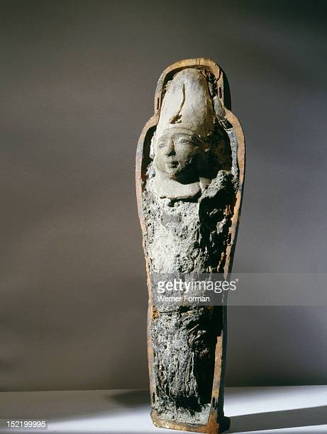 In the mummiform case is contained the body of Osiris made of earth with germinated grains symbolising the resurrection of the god Similar figures...