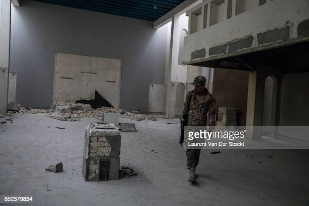 In the museum of Mosul taken back by the emergency response division where IS destroyed the major works of the Iraqi heritage in 2005