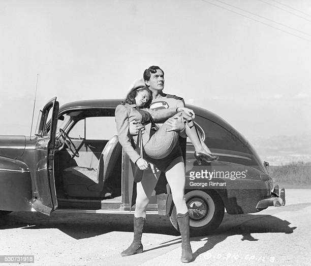 In The Nick Of Time. Superman saves Lois, , girl reporter on the daily Planet, from certain death as he stops her car just before it is about to...