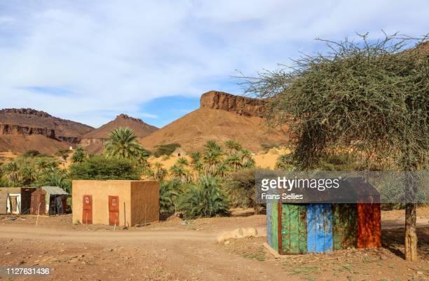 in the oasis village of terjit, adrar region, mauritania - frans sellies stockfoto's en -beelden