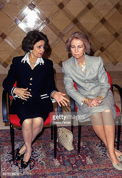 In the official trip of the Spanish Kings Juan Carlos and Sofia to Egypt the Queen meets the Egyptian president's wife Susan Mubarak 21st February...