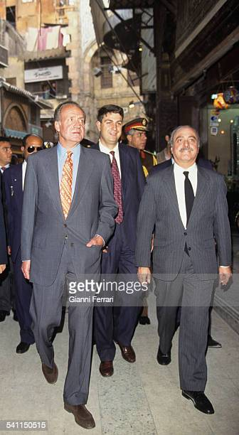 In the official visit to Egypt of the Spanish Kings Juan Carlos and Sofia of Greece the King runs an old part of the city 23rd February 1997 Cairo...