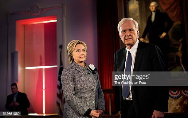 SPRINGFIELD IL In the Old State Capitol former Secretary of State Hillary Clinton takes a break during a taped interview with Chris Matthews at an...