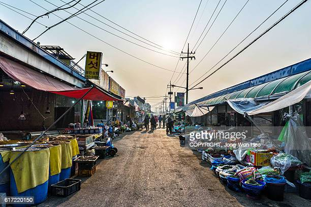 in the old traditional market in jeonju, south korea - jeonju stock photos and pictures