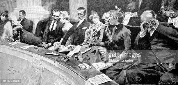 In the opera, audience in second place, Germany 1892 / In der Oper, Zuschauer auf dem zweiten Rang, Deutschland 1892, Historisch, historical, digital...