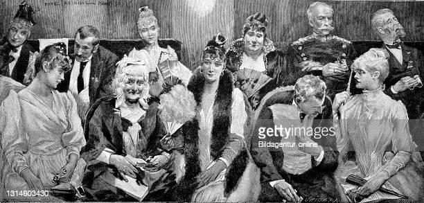 In the opera, audience on the first rank, Germany 1892 / In der Oper, Zuschauer auf dem ersten Rang, Deutschland 1892, Historisch, historical,...