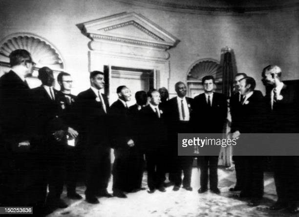 In the oval room of the white house, US President John Kennedy receives on August 28, 1963 the leaders of the civil rights groups represented:...