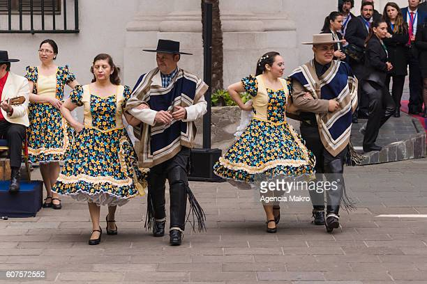In the Patio de Los Cañones of the Palacio de La Moneda after the ceremony Te Deum Ecumenical Thanksgiving for the Independence Day celebrations the...