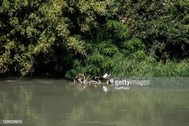 In the photo a bike launched in the Tiber near Ponte Sublicio oBike the bike sharig company will consider interrupting its testing service due to...