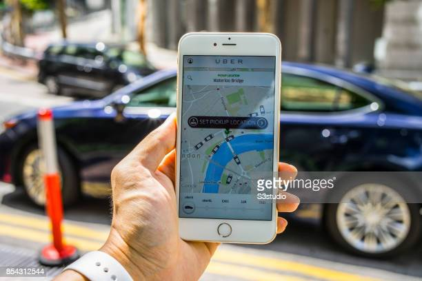 In the photo illustration a iPhone6S plus displays the Uber ridehailing app on 26 September 2017 in Hong Kong Hong Kong London transport authorities...