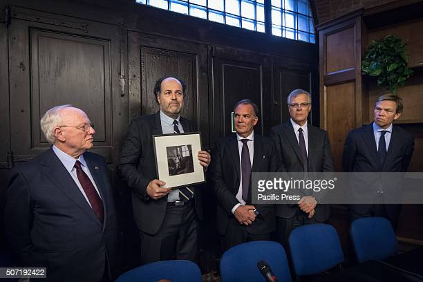 In the picture Israeli ambassador to Rome Joep Wijnands ambassador of the Kingdom of the Netherlands in Rome Ronald Leopold director of the Anne...