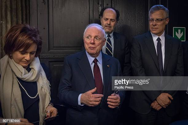 In the picture Israeli ambassador to Rome Joep Wijnands ambassador Ronald Leopold director of the Anne Frank House and Nico Kamp survivor and former...