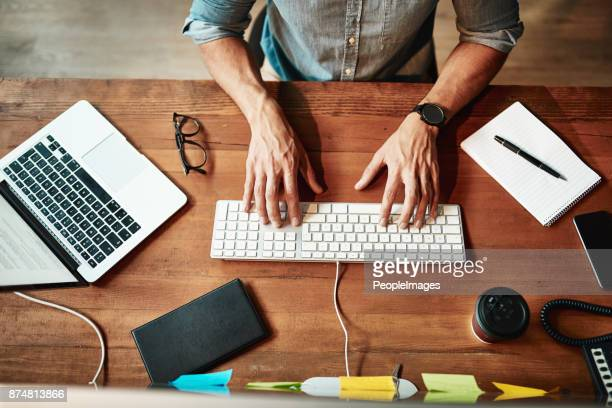 in the productive zone - typing stock photos and pictures