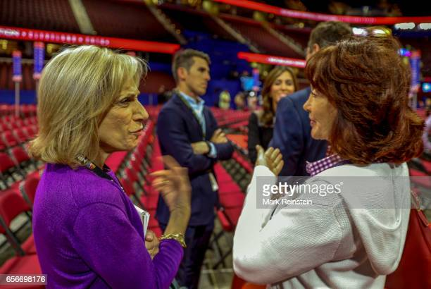 In the Quicken Arena before the Republican National Convention American broadcast journalist Andrea Mitchell of NBC TV speaks with Kathleen Manafort...