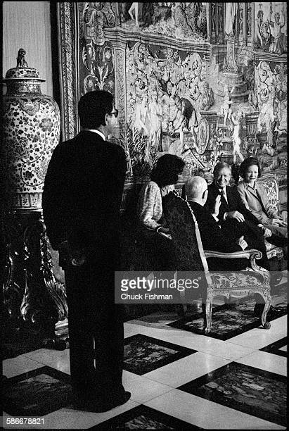 In the Quirinale Palace Italian President Sandro Pertini speaks with American President Jimmy Carter and his wife US First Lady Rosalynn Carter Rome...