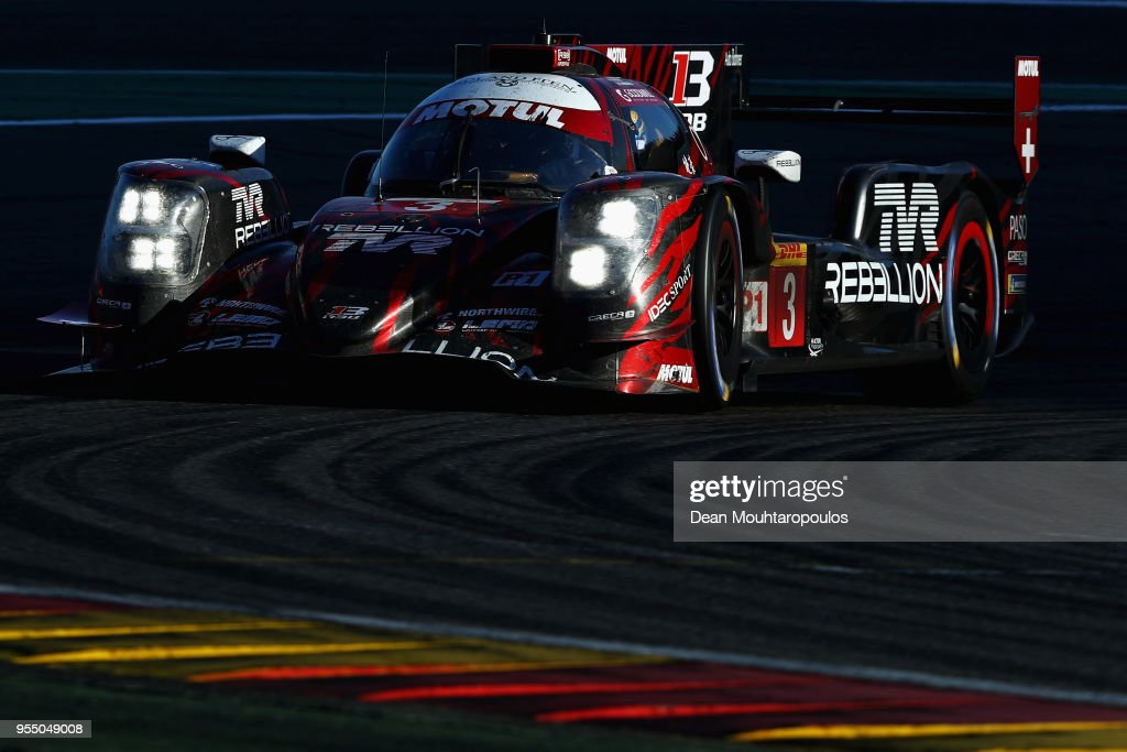 RACING in the Rebellion R13 in the Gibson and driven by Mathias Beche of Switzerland, Thomas Laurent of France and Gustavo Menezes of USA competes in the WEC 6 Hours Of Spa-Francorchamps Race at Circuit de Spa-Francorchamps on May 5, 2018 in Spa, Belgium.