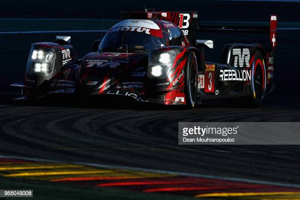 In the Rebellion R13 in the Gibson and driven by Mathias Beche of Switzerland, Thomas Laurent of France and Gustavo Menezes of USA competes in the...
