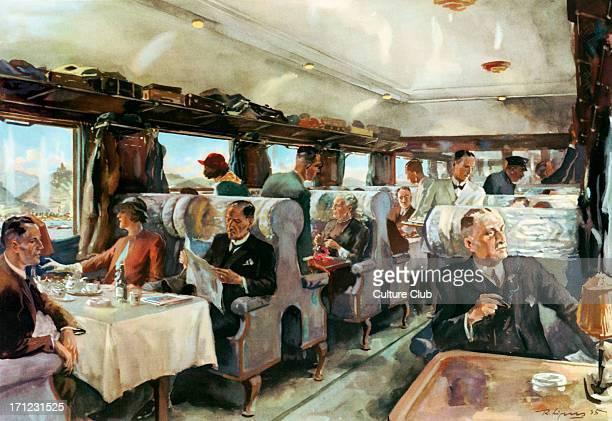 In the ' Rheingold ' between Mainz and Cologne watercolour by Rudolf Lipus National Socialist propaganda 1935 Koln German Railways passenger train...