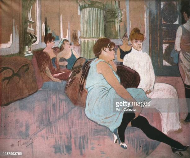 In the Salon at the Rue des Moulins' . Sex workers in a Paris brothel on the Rue des Moulins. Painting in the Musée Toulouse-Lautrec, Albi, France....