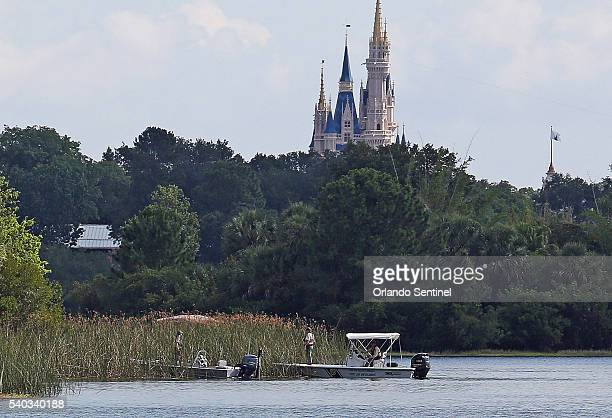 In the shadow of the Magic Kingdom Florida Fish and Wildlife Conservation Officers search for a young boy Wednesday June 15 2016 after the boy was...