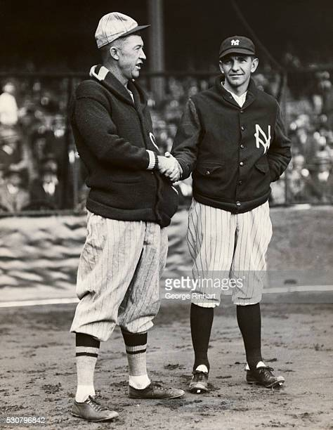 In the sixth game of the World Series the third to be played in the Yankee Stadium the two opposing pitchers shaking hands before the game Grover...