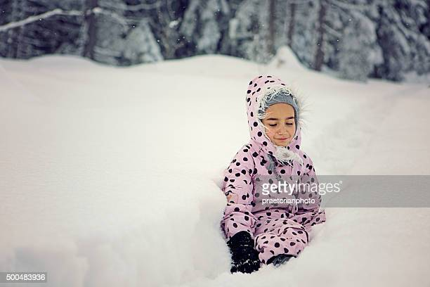 in the snowy wood - little russian girls stock photos and pictures
