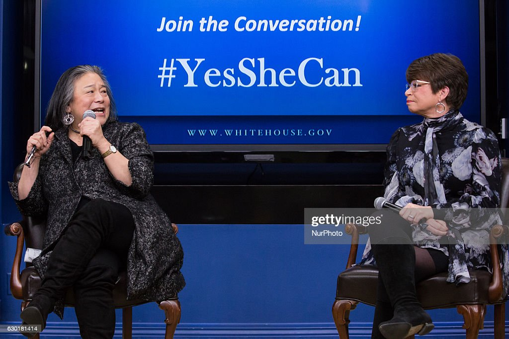 In the South Court Auditorium of the Eisenhower Executive Office Building of the White House in Washington DC, on 16 December 2016, (l-r), Tina Tchen, Assistant to the President, Chief of Staff to the First Lady and Director of the White House Council on Women and Girls, speaks, as Valerie Jarrett, Senior Advisor to the President and Chair of the White House Council on Women and Girls, listens, as part of the panel: An Armchair with ELLE- Lessons, Leadership and Legacy: The Journey Toward Opportunity for All.